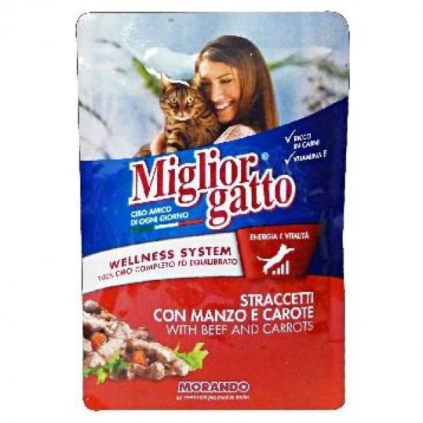 MIGLIOR GATTO STRACCETTI 100GR MANZO/CA