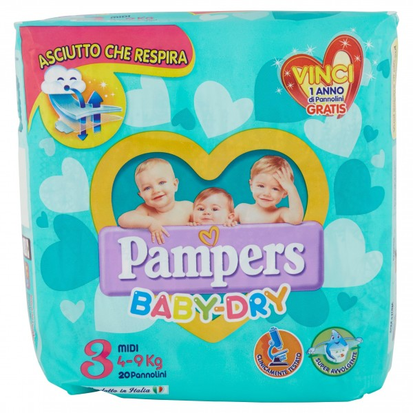 PAMPERS BABY DRY MIDI 4/9kg