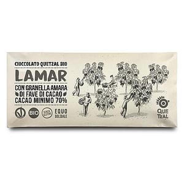 LAMAR - CIOCCOLATA CON ZUCCHERO INTEGRALE E GRANELLA FAVE DI CACAO 70% CACAO BIO