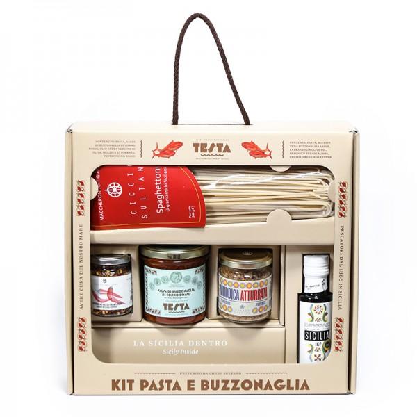 TESTA CONSERVE - KIT PASTA BUZZONAGLIA (spaghettoni, salsa di alici, olio evo, mollica atturrata, peperoncino rosso)
