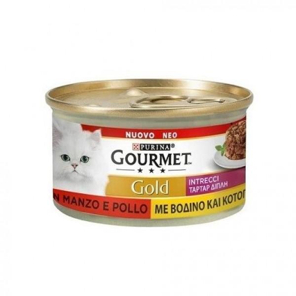 GOURMET GOLD INTRECCI POLLO/MANZO 85 GR