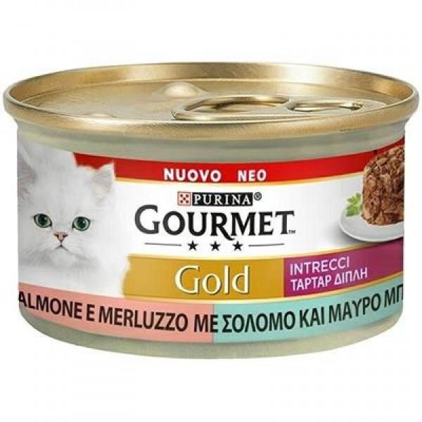 GOURMET GOLD INTRECCI SALMONE/MERLUZZO 85 GR